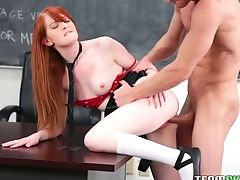 Sizzling Red-haired Sweetheart Torn Up Upskirt Missionary Style