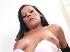 Brown-haired With Big Breasts Is Ready To Spend Hours With Dudes Cane In Her Mouth