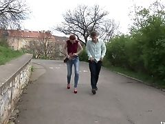 Romantic Slender Gal Surprises Her Own Beau With An Outdoor Oral Pleasure