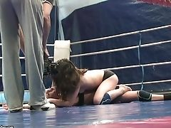 Sapphic Wrestlers Tiffany Doll And Mandi Dee  Showcase Tits And Bums