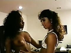 Gorgeous Black Woman In The Office Unclothes And Plays With Another Nymph