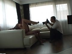 Sexy Gams Honey Ruth Medina Tempts A Stud And Touches His Pink Cigar With Her Feet Behind-the-scenes