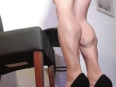 17 Inch Phat Muscular Fbb Calves , Ambling Around And Permitting Me To Touch Those Strong Gams