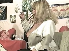 Matures And Voluptuous Blonde Woman Flashes Her Humungous Jugs