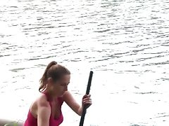 Fine Youthfull Sandy-haired In The Petite Boat Strips And Masturbates
